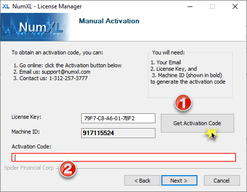 Manual Activate form in NumXL License Manager